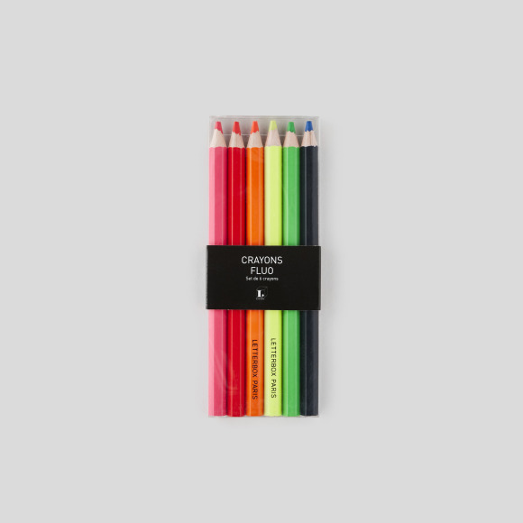 6 crayons fluo Letterbox