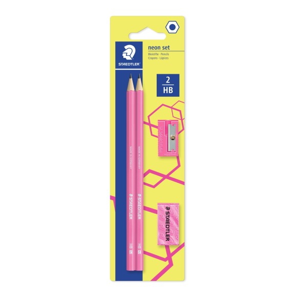 2 crayons hb + 1 taille crayon + 1 gomme, rose fluo Staedtler