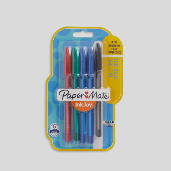 5 stylos-billes inkjoy, pointes fines Paper Mate