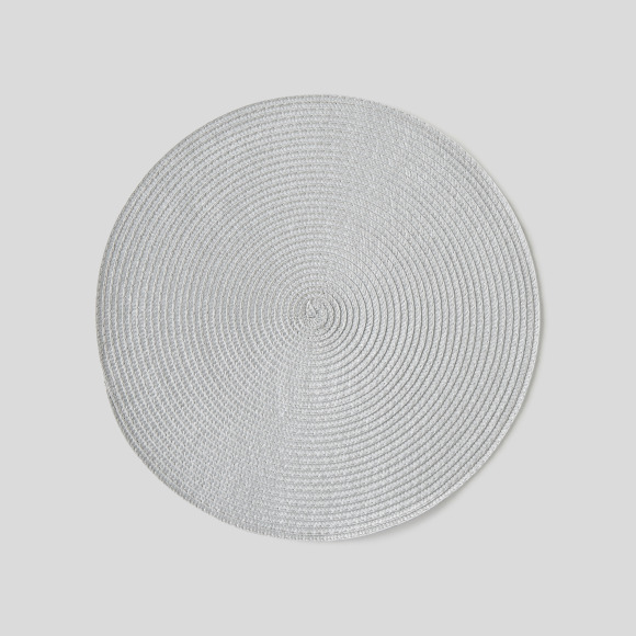 Set de table en plastique, rond, gris, 38cm Monoprix Maison
