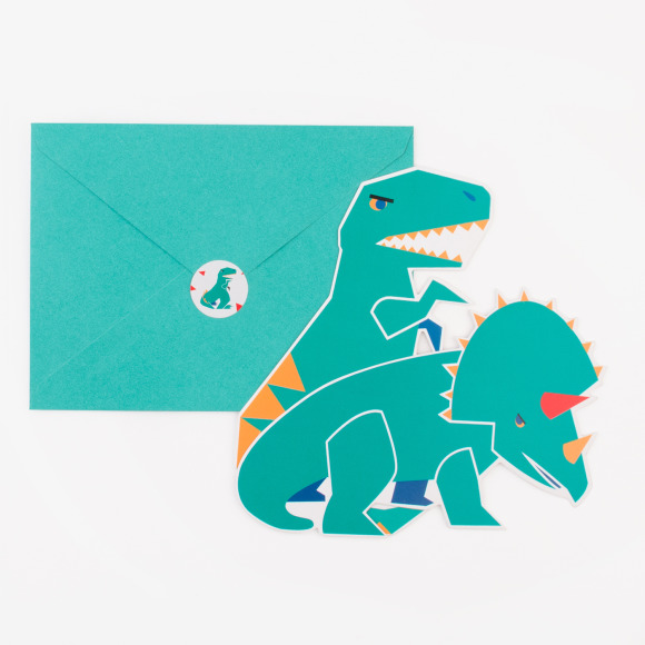 8 cartons d'invitation dinosaure My Little Day
