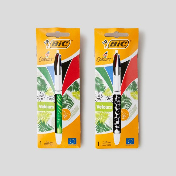 Stylo-bille 4 couleurs en velours Bic