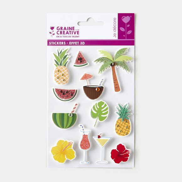 Stickers tropical 3d Graine Creative