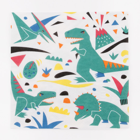 Lot de 20 serviettes dinosaures My Little Day