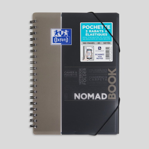 Cahier nomad book, 19,7x26,5, 160 pages, grands carreaux Oxford