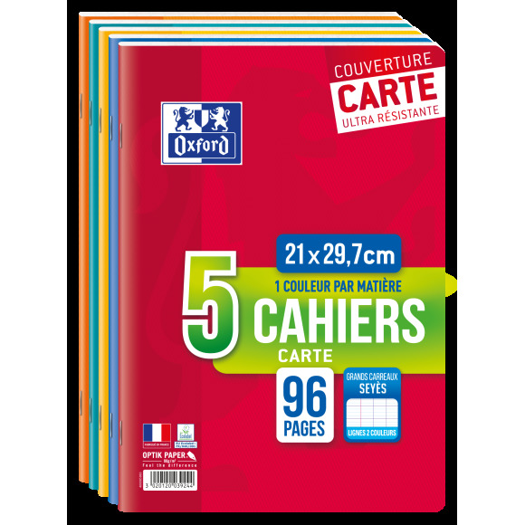 5 cahiers, grands carreaux séyès, 21x29,7cm, 96 pages Hamelin