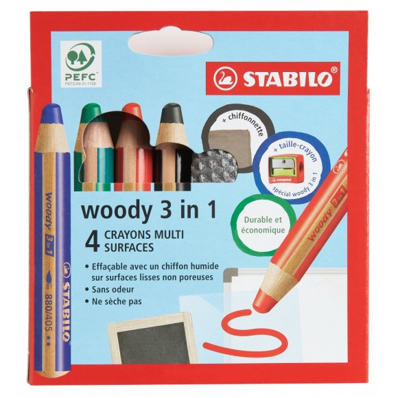 4 crayons multi surface Stabilo